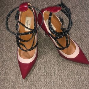 Authentic Valentino grommet strappy pumps